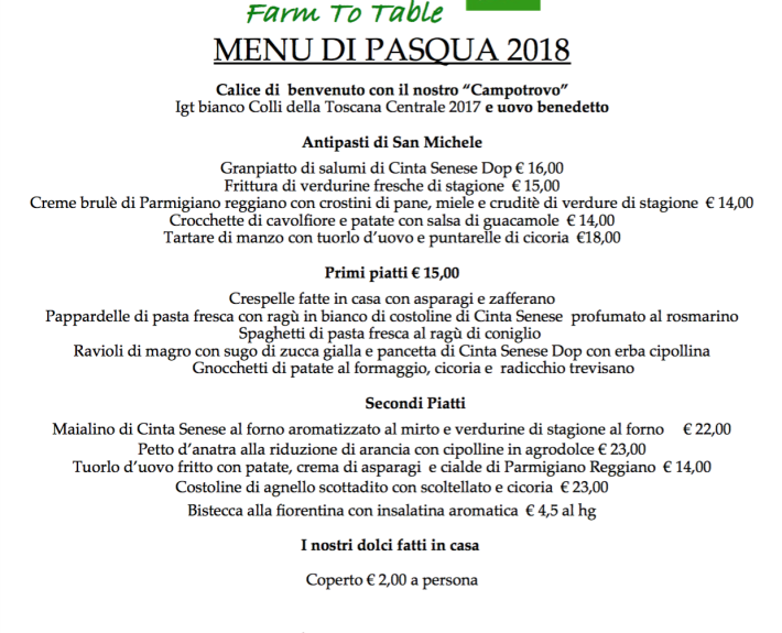 San Michele allarco Menu Pasqua 2018 ITA
