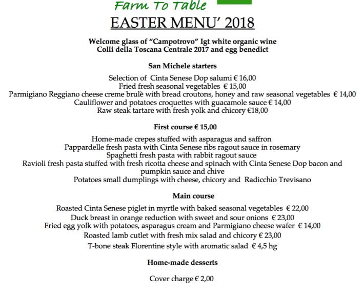 San Michele allarco Menu Pasqua 2018 ENG